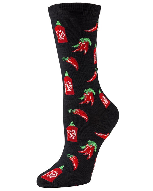 Sriracha Bamboo Crew Socks | Fun Novelty Socks by MeMoi® | Wine Socks | MF7-915 Black-