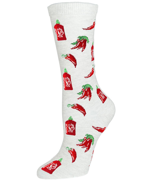 Sriracha Bamboo Crew Socks | Fun Novelty Socks by MeMoi® | Wine Socks | MF7-915 Winter White-