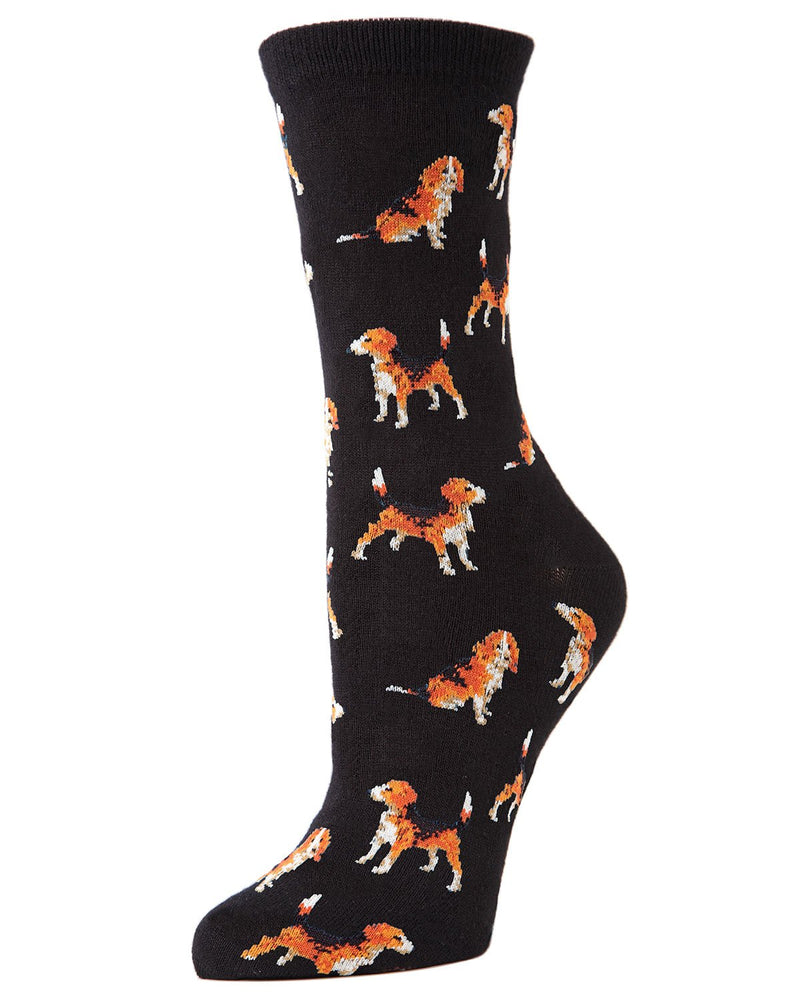 American Beagle Bamboo Novelty Crew Socks | Fun Novelty Socks by MeMoi® | Dog Lover Socks | Black MF7-918