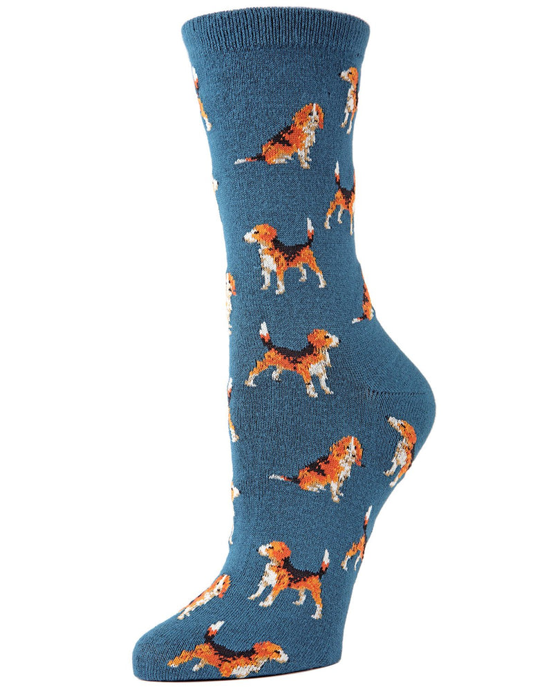 American Beagle Bamboo Novelty Crew Socks | Fun Novelty Socks by MeMoi® | Dog Lover Socks | Legion Blue MF7-918