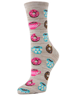 MeMoi Crockery Coffee & Donut Breakfast Bamboo Crew Novelty Socks | Women's Fun Novelty Socks