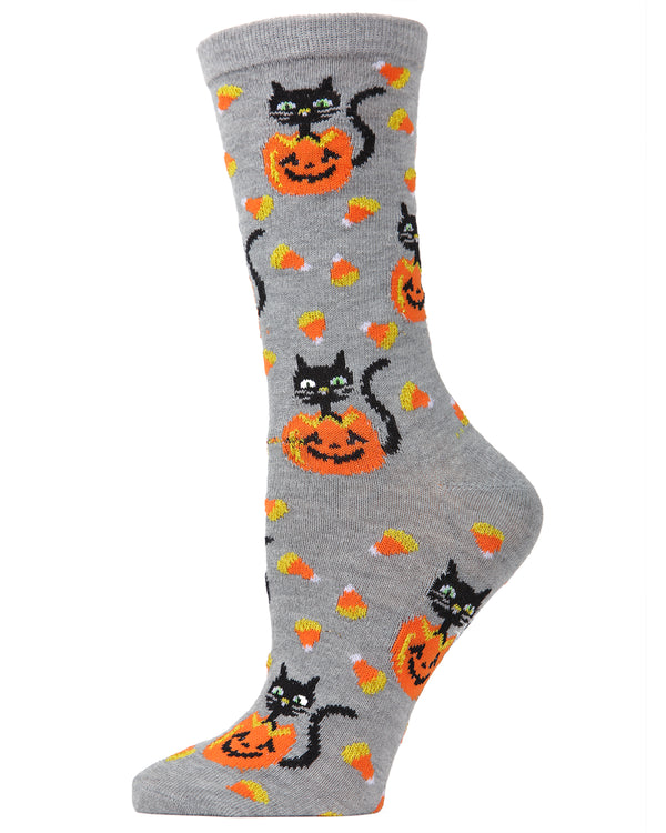 MeMoi Candy Corn Cat Crew Socks | Halloween Novelty Socks | Fun Crazy Women's Medium Gray Heather MF7-940