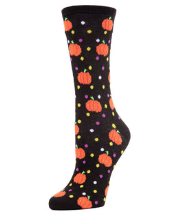 MeMoi Cheery Pumpkin Crew Socks | Fun Crazy Halloween Novelty Socks | Women's Black MF7-942
