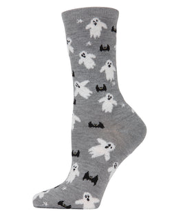 MeMoi Flying Ghost Crew Socks | Fun Crazy Halloween Novelty Socks | Women's Medium Gray Heather MF7-946