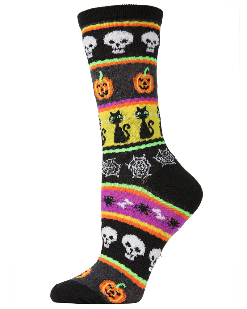 MeMoi Halloween Stripe Medley Crew Socks | Cute Fun Crazy Halloween Novelty Socks | Women's Black MF7-947