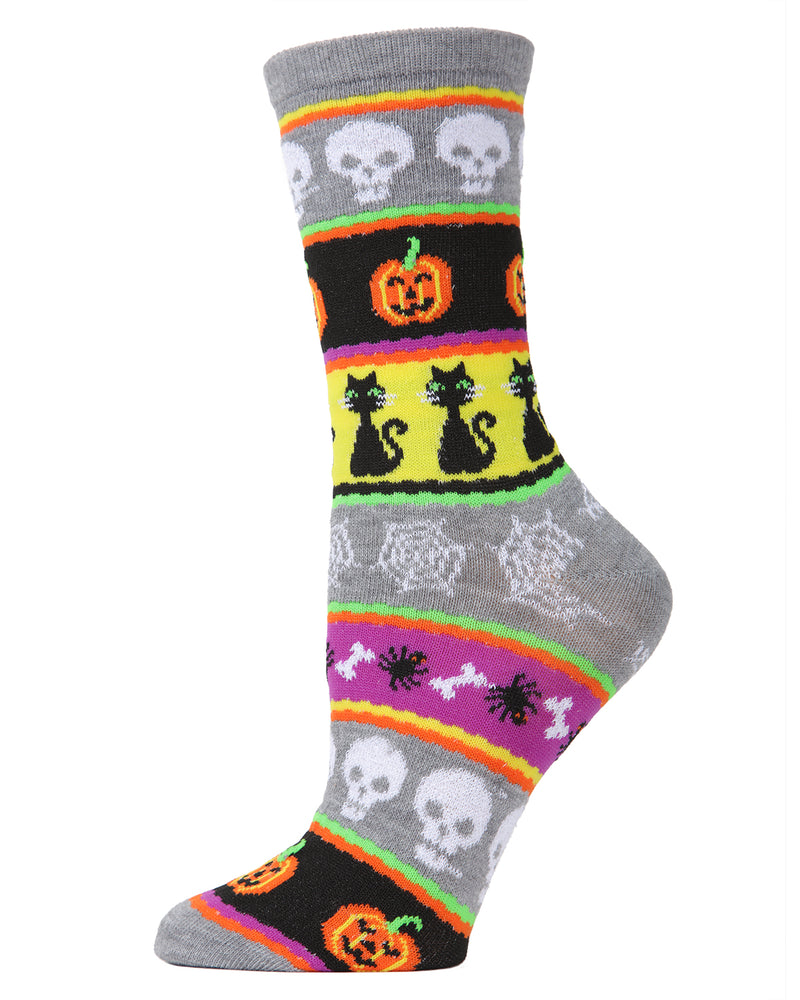 MeMoi Halloween Stripe Medley Crew Socks | Cute Fun Crazy Halloween Novelty Socks | Women's  Medium Gray Heather MF7-947