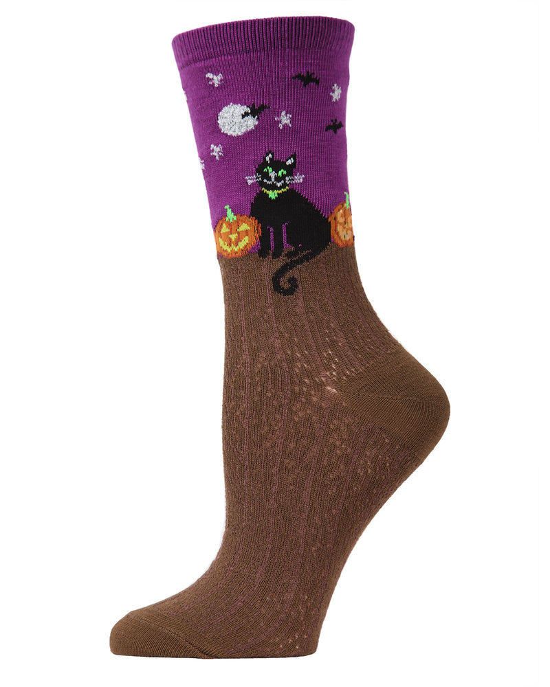 MeMoi Starry Night Cat Crew Socks | Fun Crazy Halloween Novelty Socks | Women's Imperial Purple MF7-949