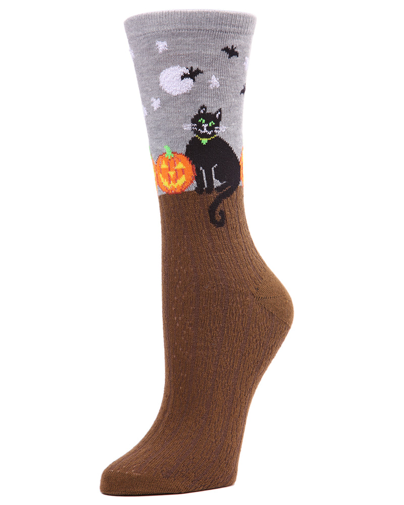MeMoi Starry Night Cat Crew Socks | Halloween Novelty Socks | Fun Crazy Women's Medium Gray Heather MF7-949