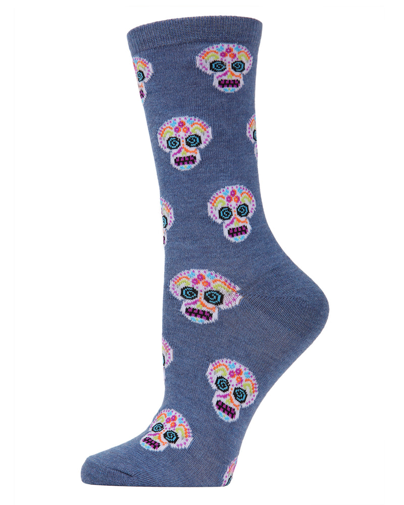 MeMoi Sugar Skull Crew Socks | Fun Cute Crazy Halloween, Mardi Gras / Fat Tuesday or Día de Muertos (Day of the Dead Festival) Novelty Socks | Women's Denim Heather MF7-950
