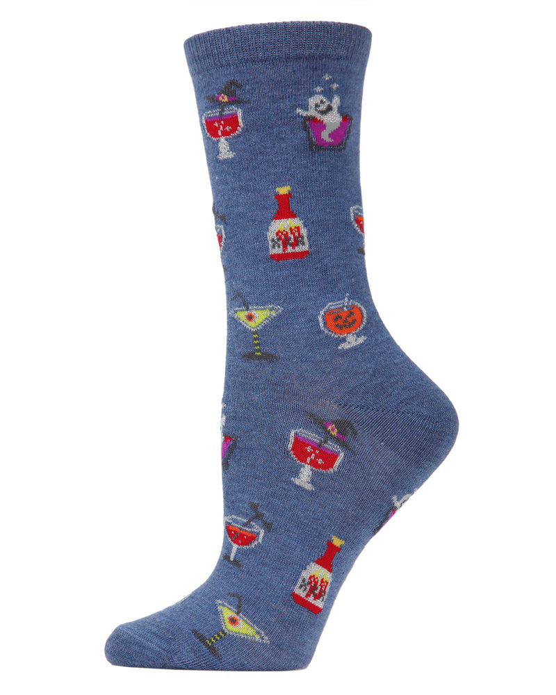 MeMoi Halloween Potion Commotion Crew Socks | Cute Fun Crazy Halloween Novelty Socks | Women's Denim Heather MF7-951