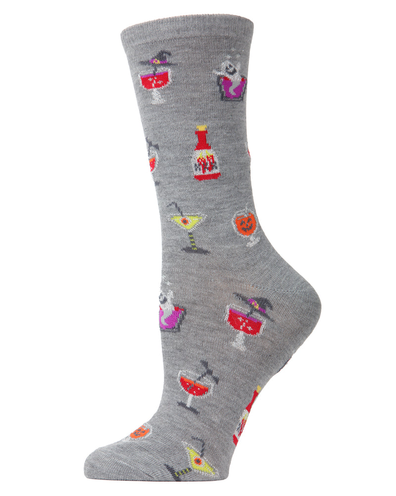 MeMoi Halloween Potion Commotion Crew Socks | Cute Fun Crazy Halloween Novelty Socks | Women's Medium Gray Heather MF7-951