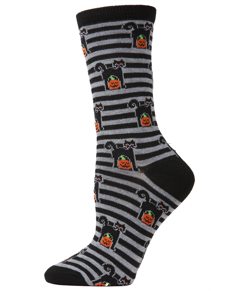 MeMoi Halloween Kitty Stripe Crew Socks | Cute Fun Crazy Halloween Novelty Socks | Women's Black MF7-952