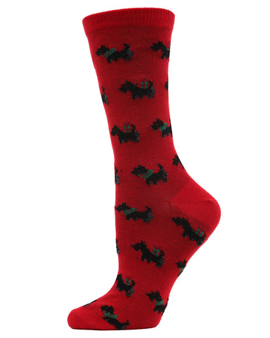 MeMoi Holiday Scotties Crew Socks | Women's Fun Scottish Terrier Novelty Socks | Merry Christmas Footwear | Tango Red MF7-960