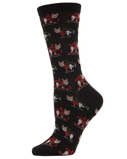 MeMoi Sleigh Dog Crew Socks | Women's Fun Novelty Socks | Merry Christmas Footwear | Black MF7-961