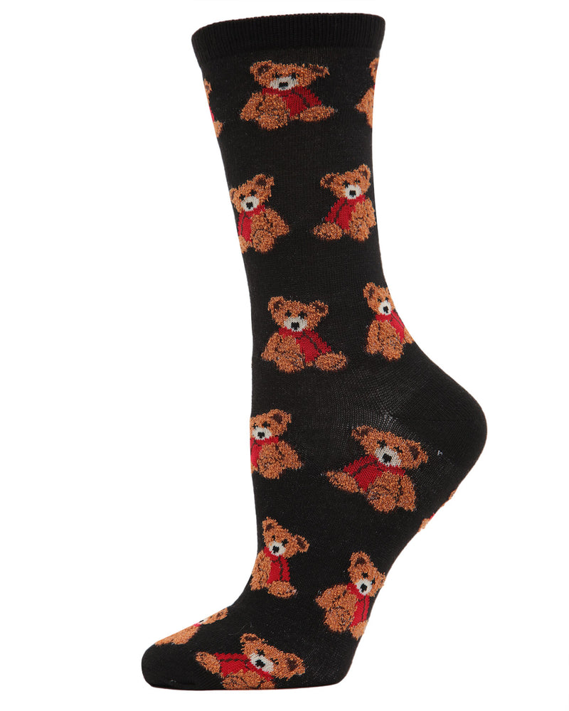 MeMoi Christmas Bear Crew Socks | Women's Fun Novelty Socks | Merry Christmas Footwear | Black MF7-964