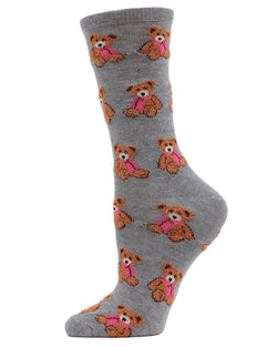 MeMoi Christmas Bear Crew Socks | Women's Fun Novelty Socks | Merry Christmas Footwear | Med Grey Heather MF7-964