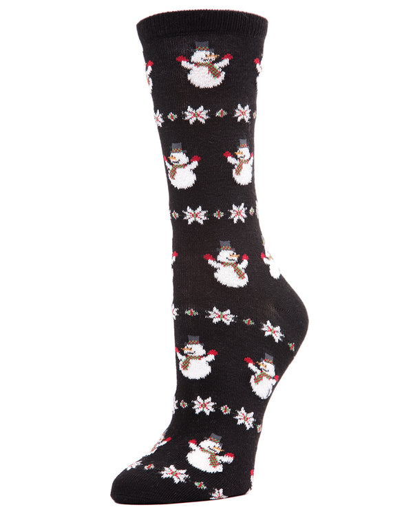 MeMoi Snowman Snowflake Crew Socks | Women's Fun Novelty Socks | Merry Christmas Footwear | Black MF7-967
