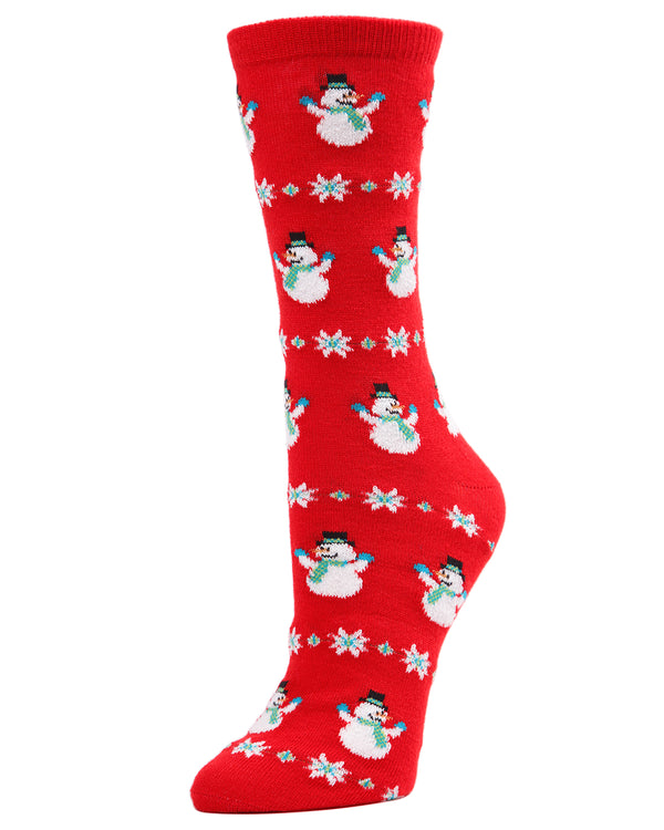 MeMoi Snowman Snowflake Crew Socks | Women's Fun Novelty Socks | Merry Christmas Footwear | Red Tango MF7-967