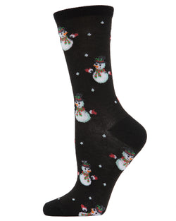 MeMoi Let it Snowman Crew Socks | Women's Fun Novelty Socks | Merry Christmas Footwear | Black MF7-968