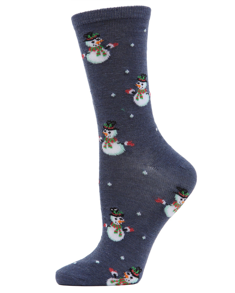 MeMoi Let it Snowman Crew Socks | Women's Fun Novelty Socks | Merry Christmas Footwear | Denim Heather MF7-968