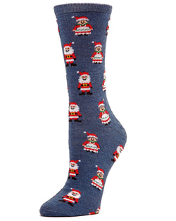 MeMoi Mr. & Mrs. Claus Crew Socks | Women's Fun Novelty Socks | Merry Christmas Footwear | Denim Heather MF7-975