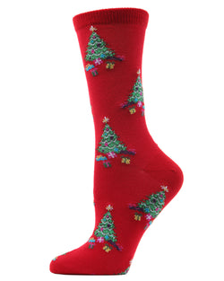 MeMoi Rockin Christmas Tree Crew Socks | Women's Fun Novelty Socks | Merry Christmas Footwear | Tango Red MF7-976