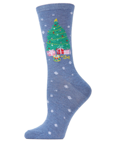 MeMoi Christmas Presents Crew Socks | Women's Fun Novelty Socks | Merry Christmas Footwear | Medium Gray Heather MF7-981
