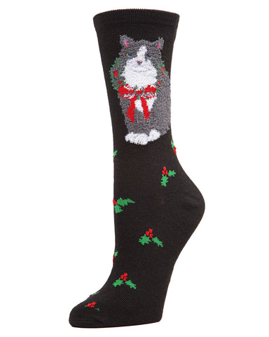 MeMoi Christmas Cat Crew Socks | Women's Fun Novelty Socks | Merry Christmas Footwear | Black MF7-984