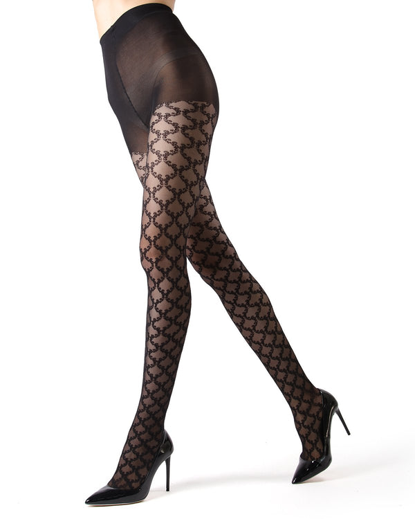 MeMoi Black Lace Sheer Tights | Women's Premium Hosiery - Pantyhose - Nylons |  Black MF7-135