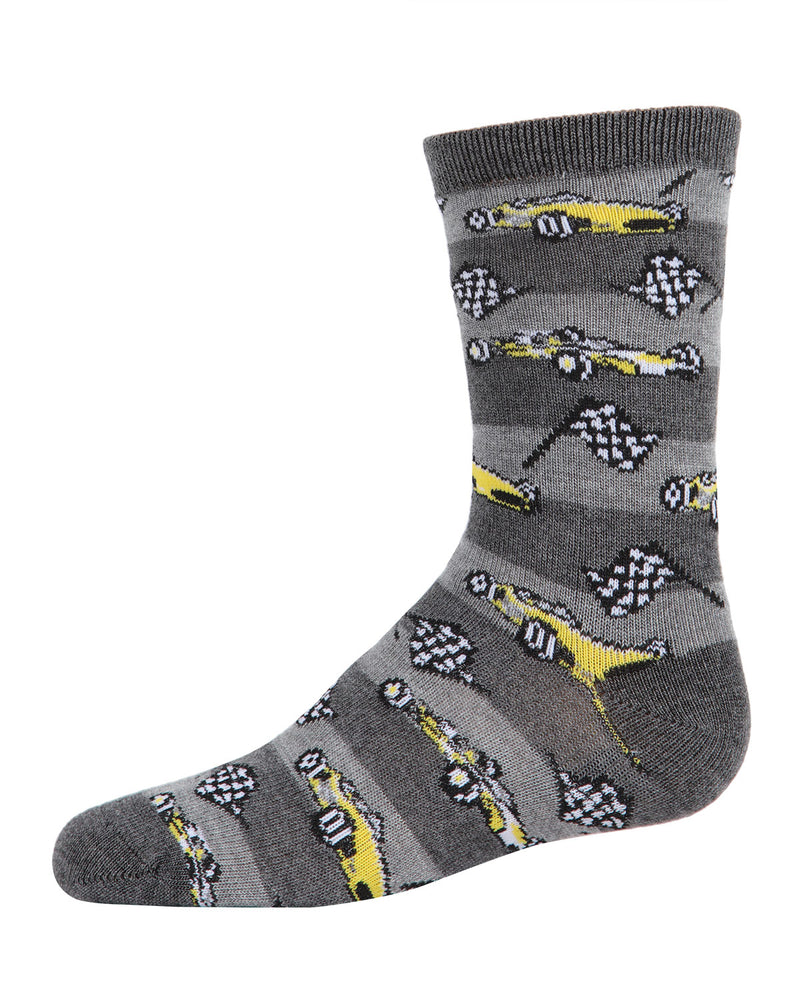 Race Car Bamboo Blend Crew Socks | Socks By MeMoi®  | MFB-2001  | Charcoal