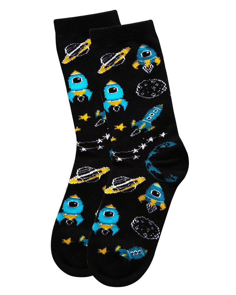 Rocket Ship Bamboo Blend Crew Socks