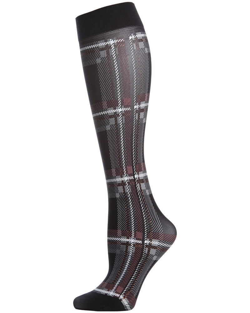 MeMoi Printed Plaid Knee Hi Socks | Top Women's Premium Fashion Knee Hi Socks | calcetines para mujeres | MFF02197