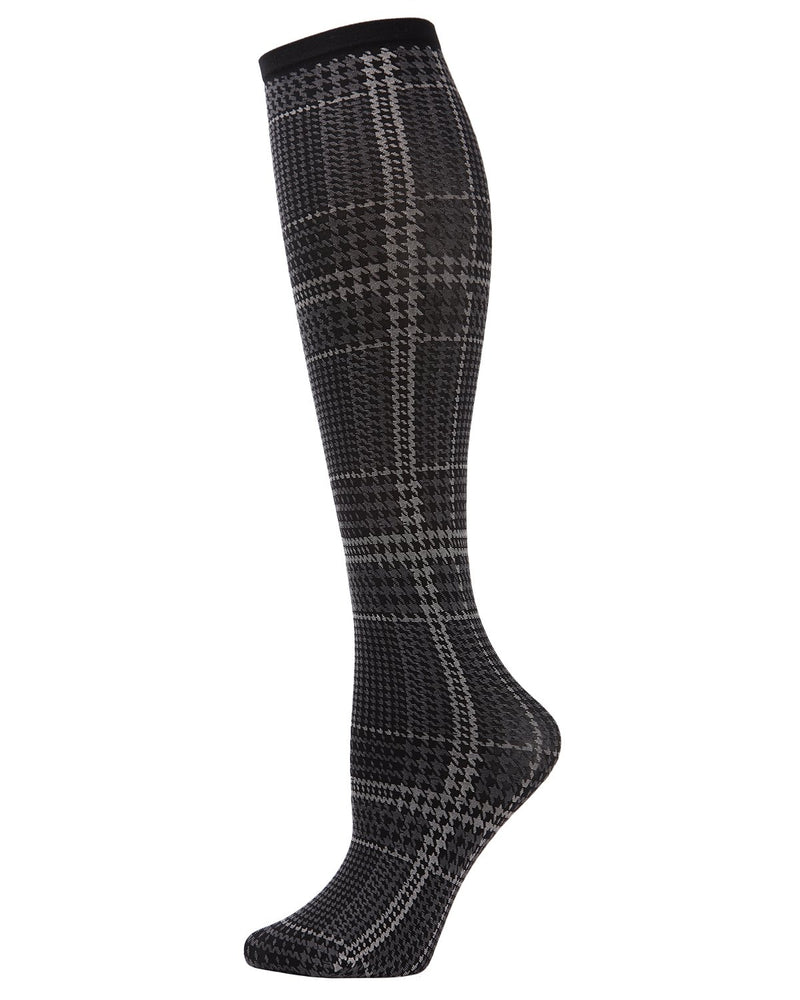 MeMoi Black/Gray Check Me Out Knee Hi Socks | Top Women's Premium Fashion Knee Hi Socks | calcetines para mujeres | MFF02198