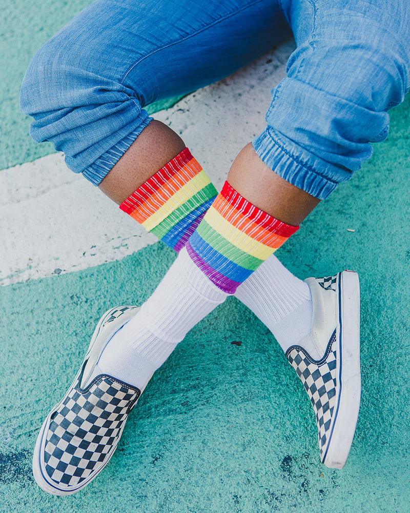 Rainbow Rugby Knee High Socks