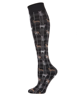 Pooches Plaid Knee High Socks | Socks By MeMoi®  | MFF05369 | Black
