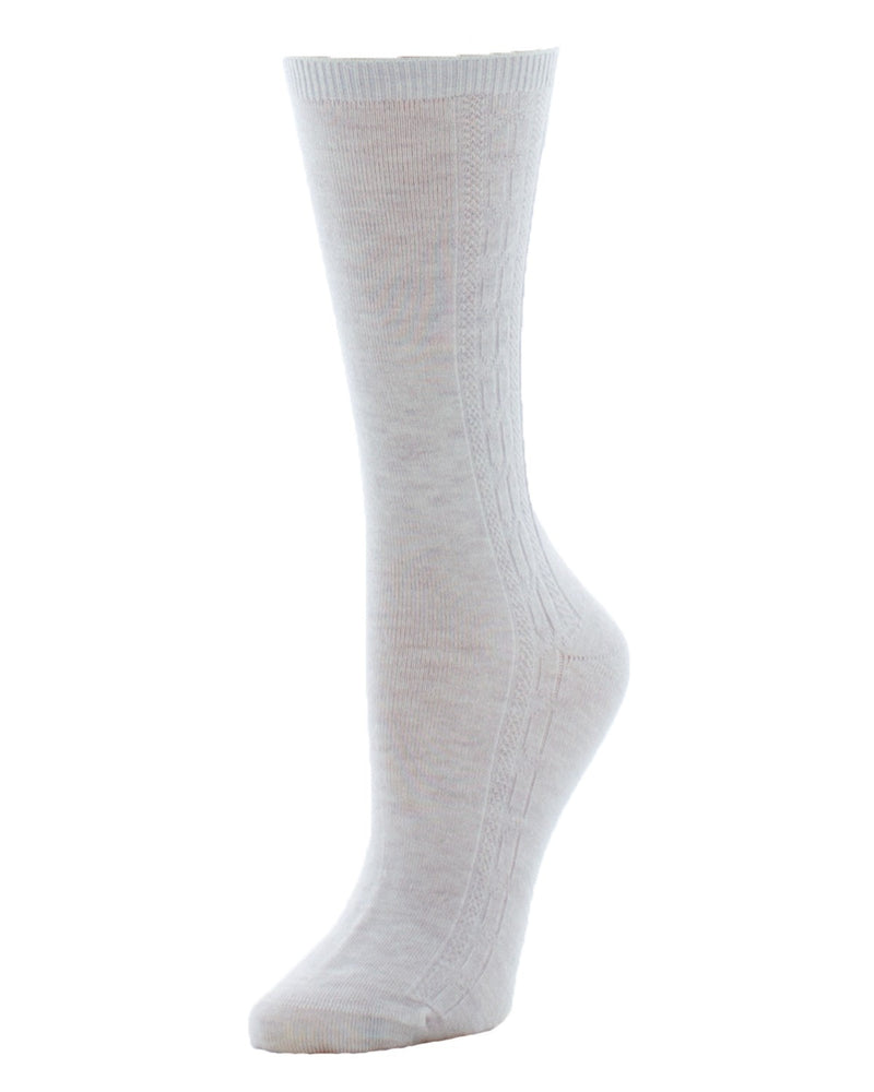 MeMoi Cashmere Blend Cable Luxury Crew Socks