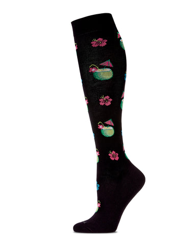 Coconuts in Paradise Compression Socks | WellFit Compression Therapy Socks by MeMoi® | Black MFY06321