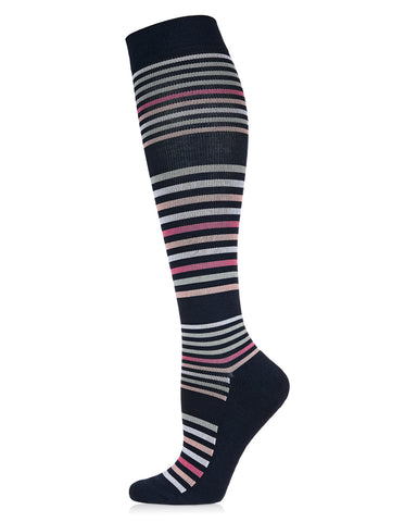 Stripe Design Bamboo Blend Knee High Compression Socks