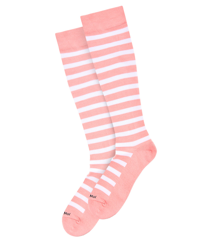 Cabana Stripe Compression Socks | WellFit Compression Therapy Socks by MeMoi® | Pink MFY06349 -3