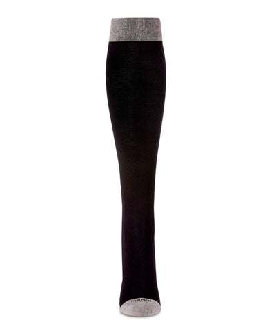 Two-Tone Contrast Compression Socks | WellFit Compression Therapy Socks by MeMoi® | Black MFY06350