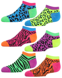 Wild About Animals Girls Low Cut Socks Six-pack