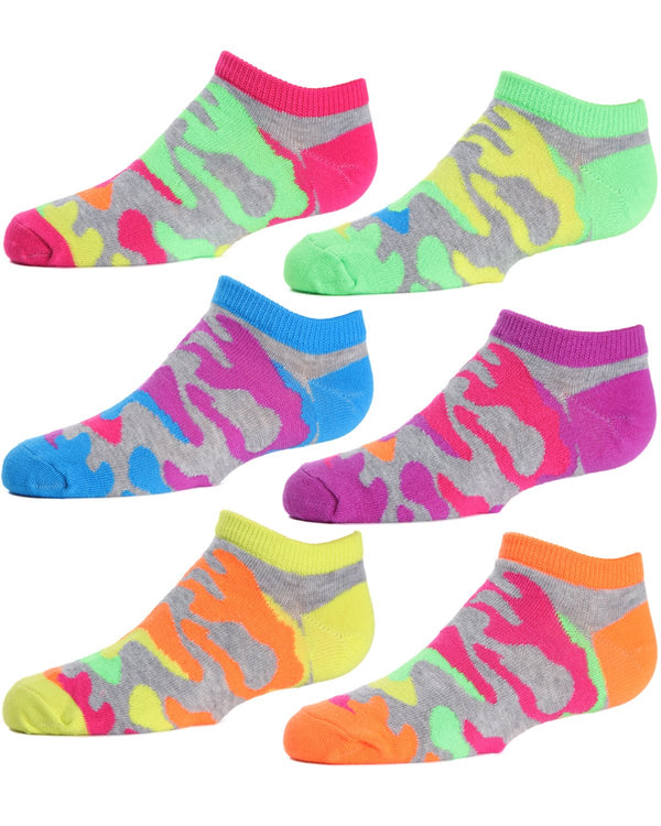 Camo Girls Low Cut Socks Six-pack