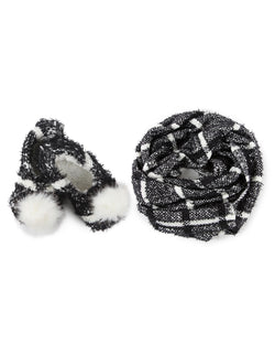 MeMoi Perfect Plaid Knit Shawl & Plush Lined Slippers | Slippers/Shawl for Women/girls | Black MGP-02508