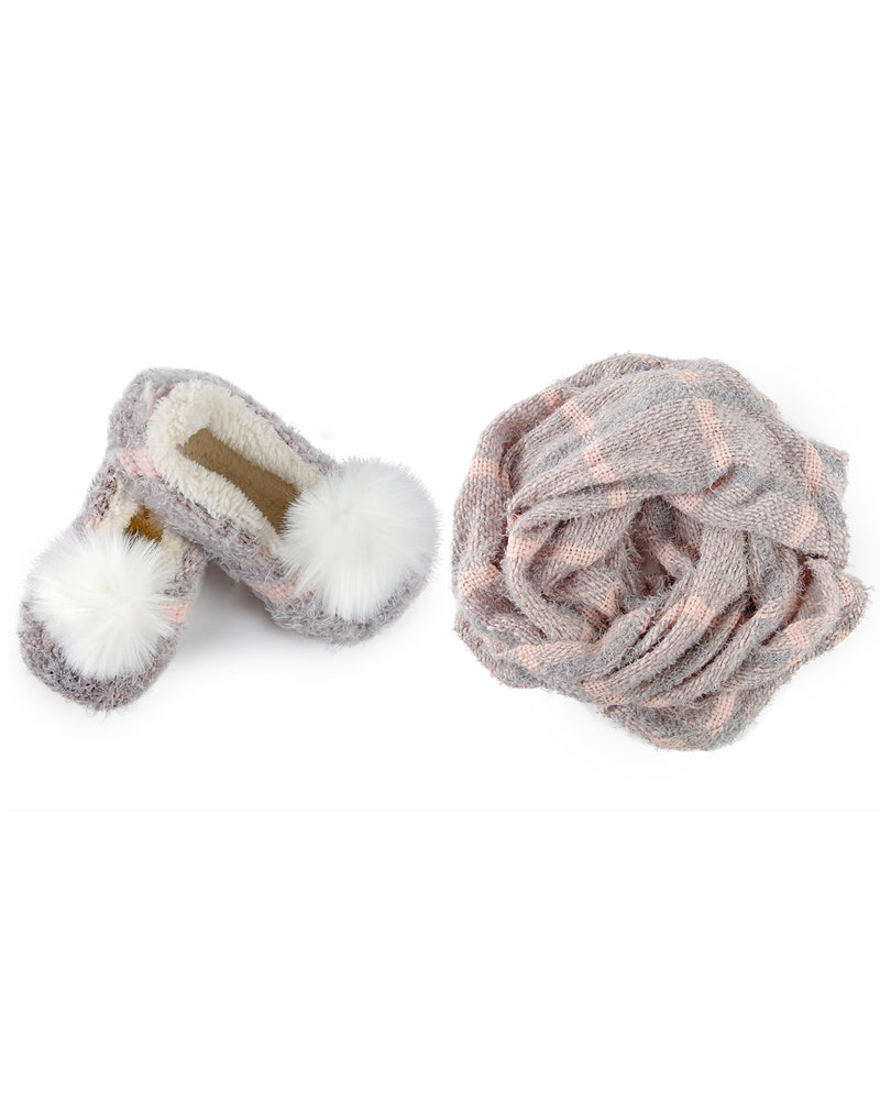 MeMoi Perfect Plaid Knit Shawl & Plush Lined Slippers | Slippers/Shawl for Women/girls | Grey MGP-02508