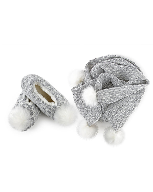 Tweed Knit Shawl & Plush-Lined Slipper Set