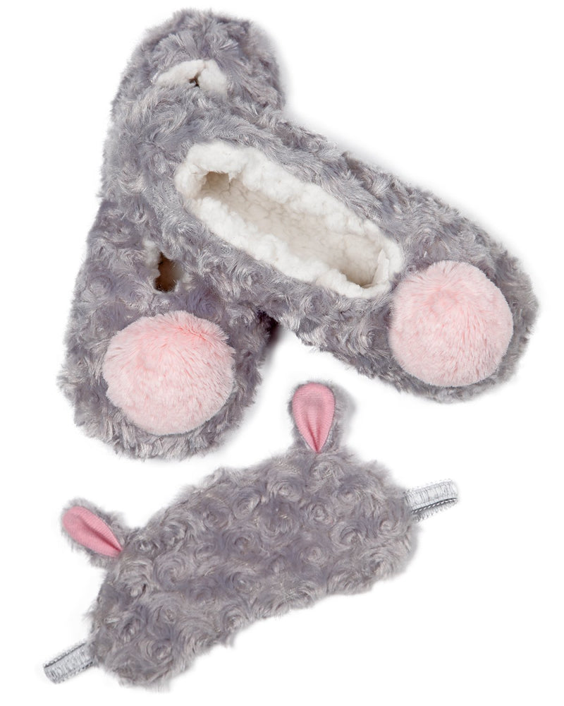 MeMoi Cute as a Mouse Eye Mask & Slipper Set | Women's Plush Winter Fashion Slippers Set | Zapatillas de casa de invierno cálido | Warm Winter House Slippers - MGP02512 Grey