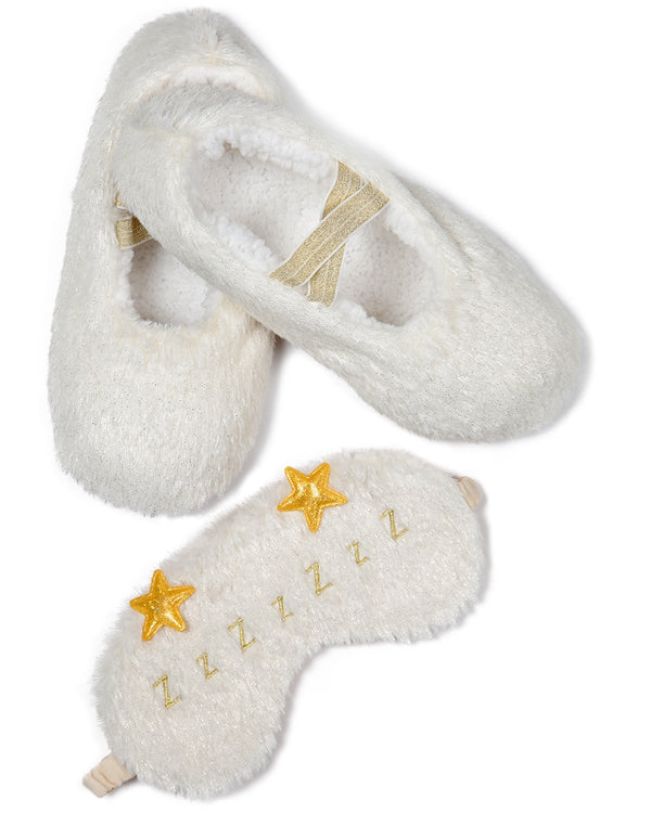 MeMoi Ticket to Dreamland Eye Mask & Slipper Set | Women's Plush Winter Fashion Slippers Set | Calcetines calientes para el invierno | Warm Winter House Socks | gift sets for women under 20 dollars | pantuflas