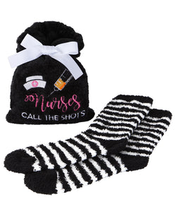 Nurses Call the Shots Cozy Sock & Gift Bag Set | Socks By MeMoi®  | MGV05549 | Black