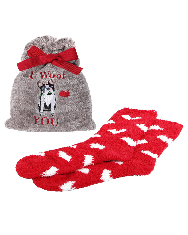 I Woof You Cozy Sock & Gift Bag Set | Gifts by MeMoi | MGV05551 | Gray