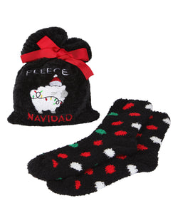 Fleece Navidad Cozy Sock & Gift Bag Set | cozy sliper novelty plush socks for Women | womens clothing |  MGV05552-00001 black -1